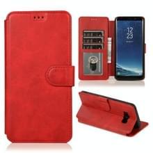 Voor Samsung Galaxy S8 Kalf texture magnetische gesp horizontale flip lederen case met houder & kaartslots & portemonnee & fotoframe(rood)