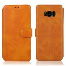 Voor Samsung Galaxy S8 Kalf texture magnetische gesp horizontale flip lederen case met houder & kaartslots & portemonnee & fotoframe(kaki)