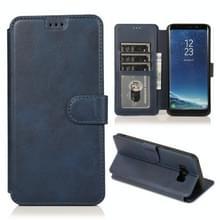 Voor Samsung Galaxy S8 Kalf texture magnetische gesp horizontale flip lederen case met houder & kaartslots & portemonnee & fotoframe(blauw)