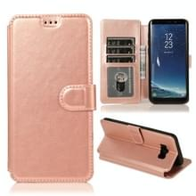 Voor Samsung Galaxy S8 Kalf texture magnetische gesp horizontale flip lederen case met houder & kaartslots & portemonnee & fotoframe(Rose Gold)