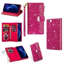 Voor iPhone SE 2020 / 8 / 7 Multi-card Slots Starry Sky Laser Carving Glitter Zipper Horizontale Flip Lederen Case met Holder & Wallet & Lanyard(Rose Red)