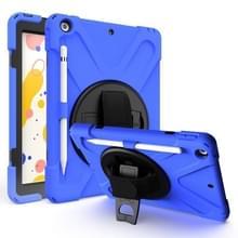 Voor iPad 10 2 inch Shockproof Kleurrijke Siliconen + PC Beschermhoes met Holder & Shoulder Strap & Hand Strap & Pen Slot(Blauw)