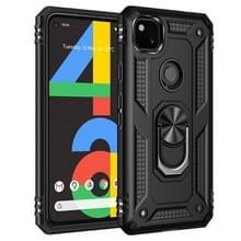 Voor Google Pixel 4a Schokbestendige TPU + pc-beschermhoes met 360 graden roterende houder(zwart)