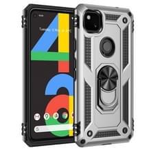 Voor Google Pixel 4a Schokbestendige TPU + pc-beschermhoes met 360 graden roterende houder(Zilver)
