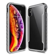 Voor iPhone XS Max Blade Metal Clear PC + TPU Shocproof Beschermhoes(Grijs)