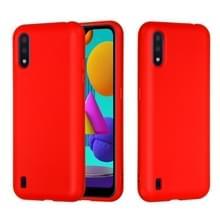 Voor Samsung Galaxy M01 Solid Color Liquid Silicon Silicon Schokbestendige volledige dekking mobiele telefoon beschermhoes (Rood)