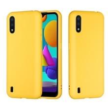 Voor Samsung Galaxy M01 Solid Color Liquid Silicon siliconen schokdicht volledige dekking mobiele telefoon beschermhoes (geel)