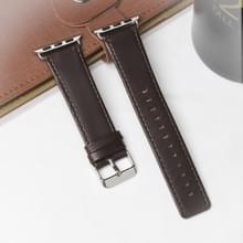 Voor Apple Watch Series 5 & 4 40mm / 3 & 2 & 1 38mm Square Tail Retro Crazy Horse Texture Echte lederen vervangende band (donkerbruin)