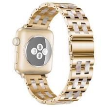 Voor Apple Watch 5 & 4 44mm / 3 & 2 & 1 42mm Roestvrij staal + Harshorloge polsbandje (Roze Bloem)