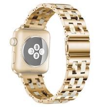 Voor Apple Watch 5 & 4 44mm / 3 & 2 & 1 42mm Roestvrij staal + Harshorloge polsbandje (Nougat)