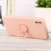 Voor iPhone X / XS Solid Color Liquid Silicon Silicon Shockproof Full Coverage Beschermhoes met ringhouder(roze)