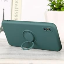 Voor iPhone X / XS Solid Color Liquid Silicon Silicon Shockproof Full Coverage Protective Case met ringhouder (Deep Green)