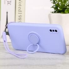 Voor iPhone XS Max Solid Color Liquid SiliconEn Schokbestendige full coverage beschermhoes met ringhouder & lanyard(Licht paars)