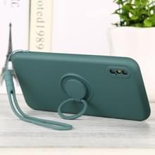 Voor iPhone XS Max Solid Color Liquid SiliconEn Schokbestendige full coverage beschermhoes met ringhouder & lanyard(Deep Green)