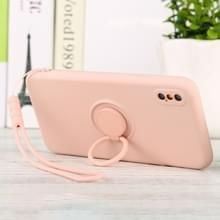 Voor iPhone X / XS Solid Color Liquid Silicon Silicon Shockproof Full Coverage Protective Case met Ring Holder & Lanyard(Pink)