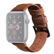 Voor Apple Watch 5 & 4 40mm / 3 & 2 & 1 38mm Echte lederen vervangende band horlogeband(koffie)