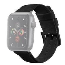 Voor Apple Watch 5 & 4 44mm / 3 & 2 & 1 42mm Echte lederen vervangende band Horlogeband(Zwart)