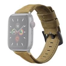 Voor Apple Watch 5 & 4 44mm / 3 & 2 & 1 42mm Echte lederen vervangende band Horlogeband (Army Green)
