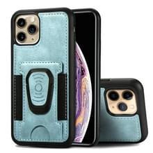 Voor iPhone 11 Magnetic Shockproof PU + TPU Case met kaartslot & ringhouder(Blauw)