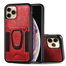 Voor iPhone 11 Pro Magnetic Shockproof PU + TPU Case met kaartslot & ringhouder(Rood)