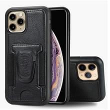 Voor iPhone 11 Pro Max Magnetic Shockproof PU + TPU Case met kaartslot & ringhouder(Zwart)