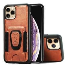 Voor iPhone 11 Pro Max Magnetic Shockproof PU + TPU Case met kaartslot & ringhouder(Bruin)