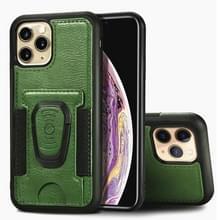 Voor iPhone 11 Pro Max Magnetic Shockproof PU + TPU Case met kaartslot & ringhouder(groen)