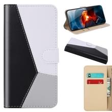 Voor iPhone 12 Tricolor Stitching Horizontale Flip TPU + PU Lederen hoes met Holder & Card Slots & Wallet(Zwart)