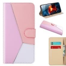Voor iPhone 12 Pro Max Tricolor Stitching Horizontale Flip TPU + PU Lederen hoes met Holder & Card Slots & Wallet(Pink)