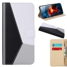 Voor Xiaomi Redmi 9 Tricolor Stitching Horizontale Flip TPU + PU Lederen hoes met Holder & Card Slots & Wallet(Zwart)
