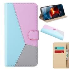 Voor Xiaomi Redmi 9 Tricolor Stitching Horizontale Flip TPU + PU Lederen hoes met Holder & Card Slots & Wallet(Blauw)
