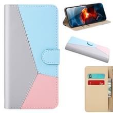 Voor Xiaomi Redmi 9 Tricolor Stitching Horizontale Flip TPU + PU Lederen hoes met Holder & Card Slots & Wallet(灰)