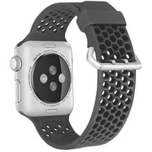 Voor Apple Watch Series 5 & 4 44mm / 3 & 2 & 1 42mm Two-tone Honeycomb Breathable Silicon Sports Strap(Grijs)