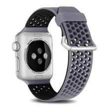 Voor Apple Watch Series 5 & 4 44mm / 3 & 2 & 1 42mm Two-tone Honeycomb Breathable Silicon Sports Strap(Grijs Zwart)