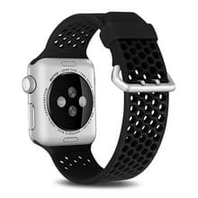 Voor Apple Watch Series 5 & 4 40mm / 3 & 2 & 1 38mm Two-tone Honeycomb Breathable Silicon Sports Strap(Zwart)