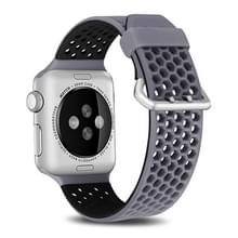 Voor Apple Watch Series 5 & 4 40mm / 3 & 2 & 1 38mm Two-tone Honeycomb Breathable Silicon Sports Strap(Grijs Zwart)