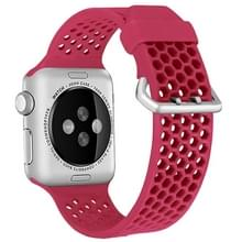 Voor Apple Watch Series 5 & 4 40mm / 3 & 2 & 1 38mm Two-tone Honeycomb Breathable Silicon Sports Strap(Red)