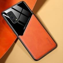 Voor Vivo iQOO Z1x All-inclusive Leder + Organic Glass Phone Case met metalen ijzeren plaat(Oranje)