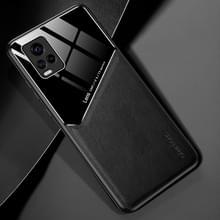 Voor Vivo S7 All-inclusive Leder + Organic Glass Phone Case met metalen ijzeren plaat(zwart)