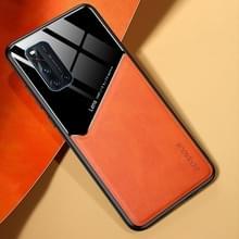 Voor Vivo V19 All-inclusive Leder + Organic Glass Phone Case met metalen ijzeren plaat(oranje)