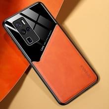 Voor Vivo X50 Pro+ All-inclusive Leder + Biologisch Glazen telefoonhoesje met metalen ijzeren plaat(oranje)