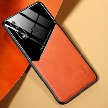 Voor Vivo Y17 All-inclusive Leder + Organic Glass Phone Case met metalen ijzeren plaat(oranje)