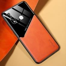 Voor Vivo Y19 All-inclusive Leder + Organic Glass Phone Case met metalen ijzeren plaat(oranje)
