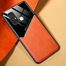 Voor Vivo Z6 All-inclusive Leder + Organic Glass Phone Case met metalen ijzeren plaat(oranje)