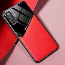 Voor Vivo X50 All-inclusive Leder + Organic Glass Phone Case met metalen ijzeren plaat(oranje)