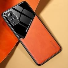 Voor Vivo X50 Pro All-inclusive Leder + Organic Glass Phone Case met metalen ijzeren plaat(oranje)
