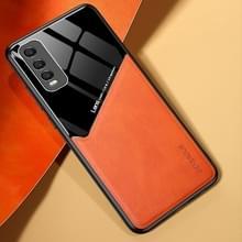 Voor Vivo Y70s All-inclusive Leder + Organic Glass Phone Case met metalen ijzeren plaat(oranje)