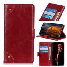 Voor Google Pixel 5 Copper Buckle Nappa Textuur Horizontale Flip Lederen Case met Holder & Card Slots & Wallet(Wine Red)