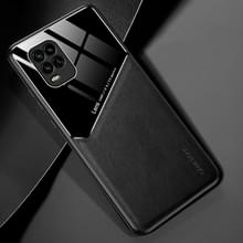 Voor Xiaomi Mi 10 Youth All-inclusive Leder + Organic Glass Phone Case met Metalen Ijzeren Vel (Zwart)
