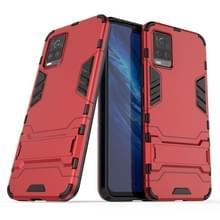 Voor Vivo S7 5G PC + TPU schokbestendige beschermhoes met houder(rood)